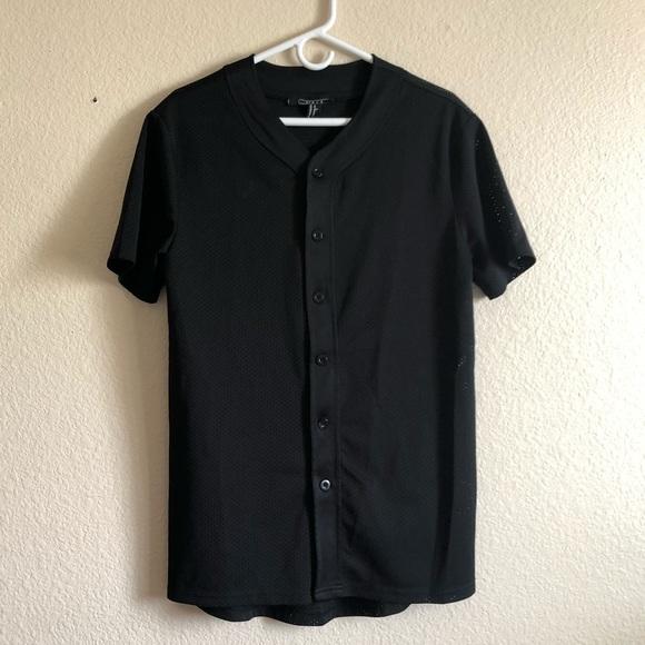 cheap for discount 56a2f 1893d Forever 21 - XS - Plain Black Mesh Baseball Jersey
